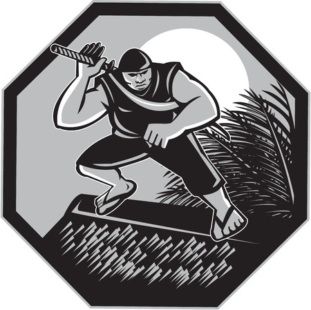 frond: Illustration of a Samoan Ninja with samurai sword standing on top of fale nipa hut house with coconut frond wearing slippers with moon in the background set inside hexagon done in retro style.