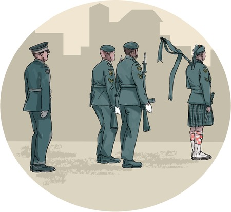 scot: Watercolor style illustration of soldiers with rifle and bagpiper wearing kilt and playing bagpipes marching viewed from side with buildings in background set inside circle. Illustration