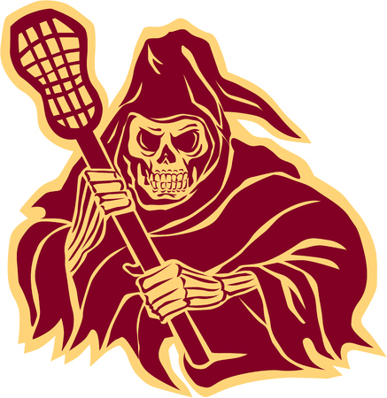 crosse: Illustration of the grim reaper lacrosse player holding a crosse or lacrosse stick defense pole viewed from front on isolated background done in retro style.