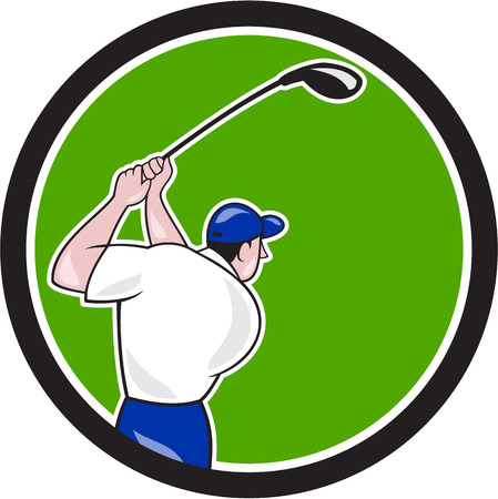 tee off: Illustration of a golfer playing golf swinging club tee off viewed from back rear set inside circle on isolated background done in cartoon style.