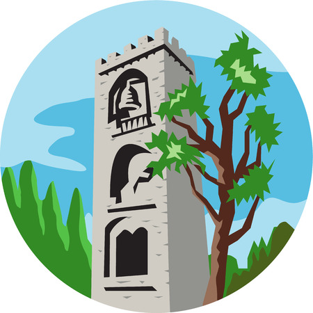 foreground: Illustration of a medieval bell tower with tree in foreground and background set inside circle done in retro style.