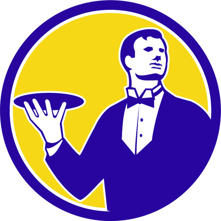 butler: Illustration of a butler holding serving plate looking to the side viewed from front set inside circle on isolated background done in retro style. Illustration
