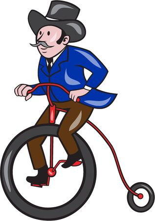 tophat: Illustration of a gentleman wearing tophat riding a Penny-farthing, high wheel or high wheeler viewed from the side set on isolated white background done in cartoon style.