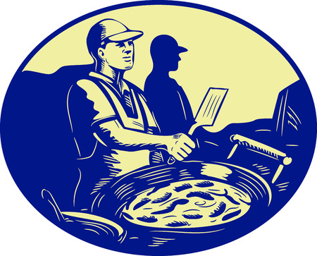 caterer: Illustration of a Taco chef cook with frying pan in market food stall viewed from the side set inside oval shape done in retro style.