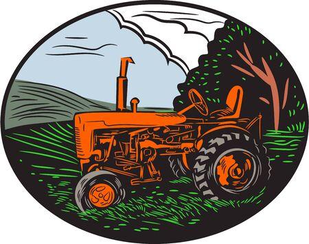 레트로 woodcut 스타일을 이루어 타원형 안에 설정 백그라운드에서 농장 잔디 나무, 하늘, 구름과 빈티지 트랙터의 그림입니다. 일러스트