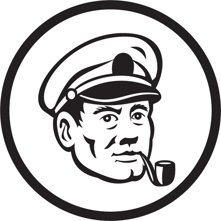 captain cap: Illustration of a sea captain, shipmaster, skipper, mariner wearing hat cap smoking smoke pipe set inside circle in black and white done in retro style.