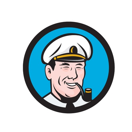 captain cap: Illustration of a smiling sea captain, shipmaster, skipper, mariner wearing hat cap smoking smoke pipe set inside circle viewed from front done in retro style. Illustration