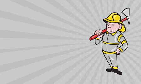 fire fighter: Business card showing illustration of a fireman fire fighter emergency worker with fire ax done in cartoon style standing on isolated white background. Stock Photo
