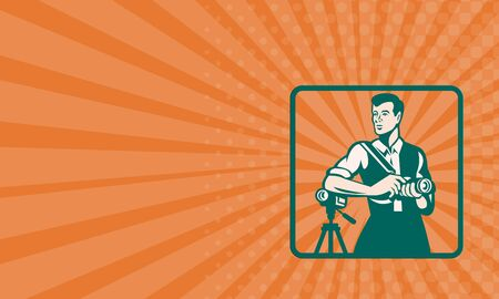 handycam: Business card showing illustration of a male photographer with DSLR camera and video cam done in retro style.