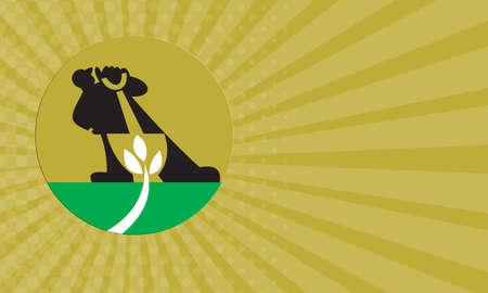 plant stand: Business card showing illustration of a male gardener landscaper with shovel digging leaf plant.