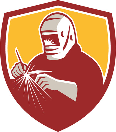welder: Illustration of a tungsten inert gas tig welder with welding torch welding set inside shield crest on isolated background done in retro style. Illustration