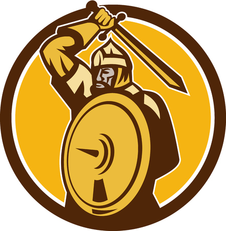 barbarian: Illustration of a Mongol Horde barbarian warrior wielding a sword and shield set inside circle done in retro style.