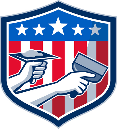 plasterer: Illustration of a plasterer hand repair patch drywall with putty knife and holding a hawk with plaster set inside crest shield with American USA stars and stripes flag done in retro style. Illustration