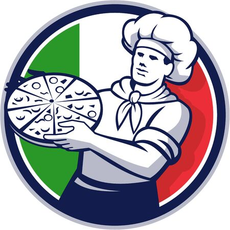 pizza maker: Illustration of a pizza chef baker holding pizza viewed from front set inside circle with italy flag in the background done in retro style.