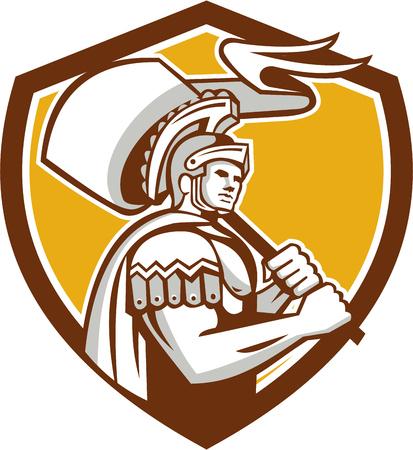 Illustratie van centurion romeinse soldaat gladiator dragen vlag set binnen kam schild gedaan in retro stijl op geïsoleerde achtergrond.
