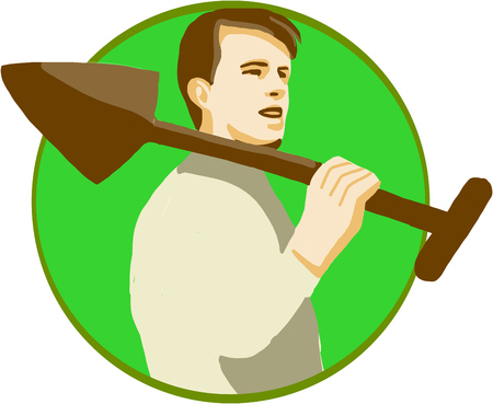 horticulturist: Illustration of a male gardener landscaper horticulturist holding shovel spade on shoulder viewed from the side set inside circle on isolated background done in retro style.