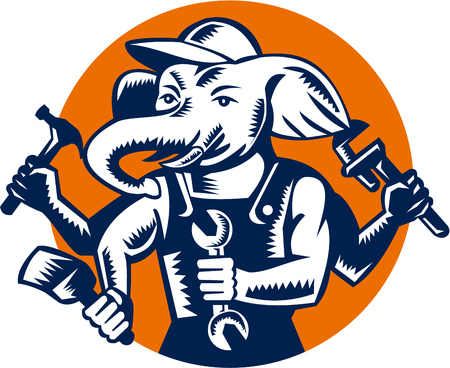 repairman: Illustration of an elephant builder plumber mechanic repairman with 4 hands holding hammer wrench spanner and brush set inside circle done in retro woodcut style.