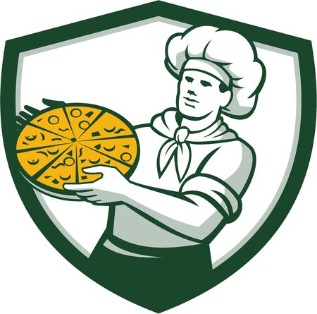 pizza maker: Illustration of a pizza chef baker holding pizza viewed from front set inside shield crest on isolated background done in retro style.