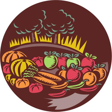 arboles frutales: Ilustración de la huerta de cosechar los cultivos de hortalizas fruta fijó el círculo interior con árboles de granja en el fondo hecho en estilo retro woocut. Vectores
