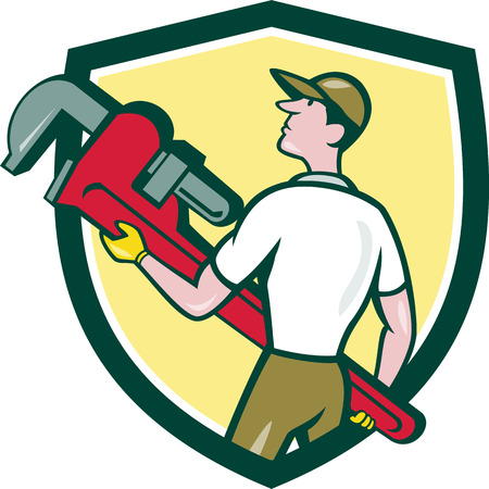 lift and carry: Illustration of a plumber wearing hat walking lifting giant monkey wrench looking to the side viewed from rear set inside shield crest on isolated background done in cartoon style.