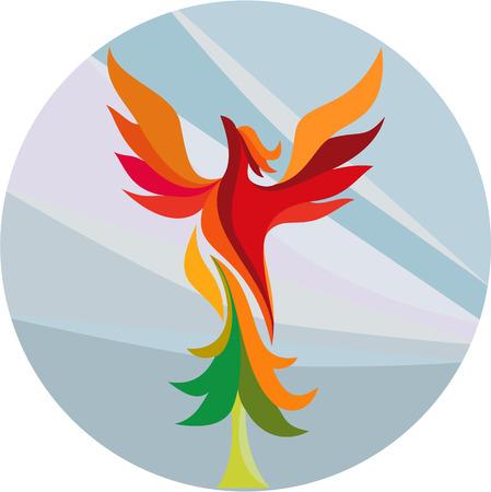 Illustratie van een mythische vogel Feniks opstaande brandende espboom set binnen cirkel gedaan in retro stijl op geïsoleerde achtergrond. Stock Illustratie