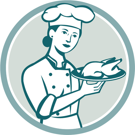 roast chicken: Illustration of a female chef with hat holding plate with roast chicken viewed from the front set inside circle on isolated background done in retro style.