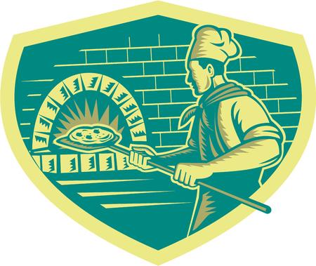 Illustratie van een bakker pizzabakker die een schil aan pizza in een bakstenen oven bekeken van kant set binnen schild gedaan in retro houtsnede stijl.