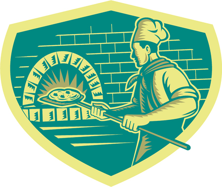 pizza pie: Illustration of a baker pizza maker holding a peel with pizza pie into a brick oven viewed from side set inside shield done in retro woodcut style.