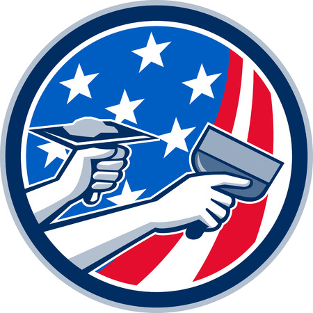 putty knife: Illustration of a plasterer hand repair drywall with putty knife and holding a hawk with plaster set inside circle with American USA stars and stripes flag done in retro style. .
