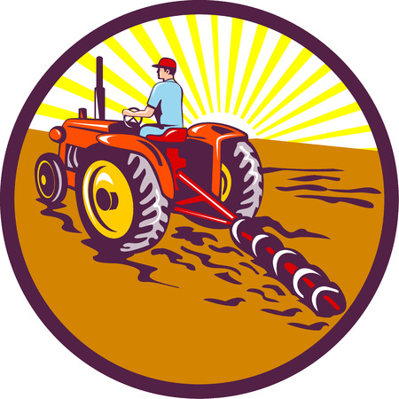 plowing: Illustration of a farmer gardener riding on tractor plowing mowing viewed from rear set inside circle with sunburst in the background done in retro style. Illustration