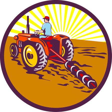 arando: Ilustración de un jardinero agricultor montar en tractor arando siega visto desde el conjunto trasero dentro del círculo con rayos de sol en el fondo hecho en estilo retro.