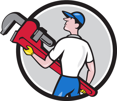 lift and carry: Illustration of a plumber wearing hat walking lifting giant monkey wrench looking to the side viewed from rear set inside circle on isolated background done in cartoon style.