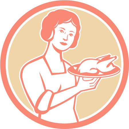 retro housewife: Illustration of a housewife woman serving chicken roast on plate platter viewed from front set inside circle done in retro style.