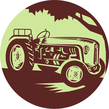 farm tractor: Illustration of a vintage farm tractor viewed from front set inside circle done in retro woodcut style.