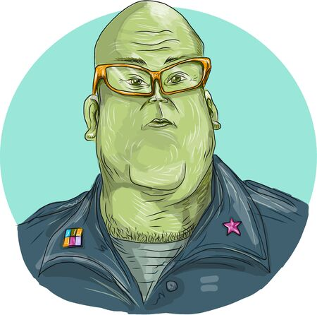 eyewear: Drawing sketch style illustration of a green man alien general wearing eyewear glasses looking front set inside oval.