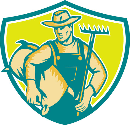 woodblock: Illustration of organic farmer wearing hat and overalls holding rake and carrying sack viewed from the front set inside shield crest done in retro woodcut style.