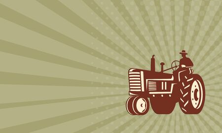 Business card showing illustration of a farmer worker driving business card showing illustration of a farmer worker driving a vintage tractor on isolated background done colourmoves