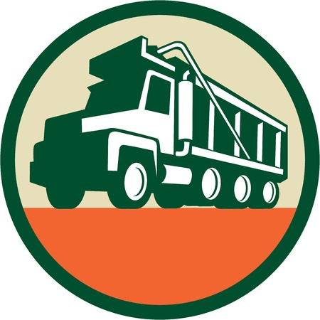 Illustration of a triple axle dump truck viewed from low angle set inside circle done in retro style. Illustration