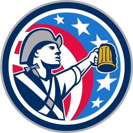raising: Illustration of an american patriot raising up craft beer mug Illustration