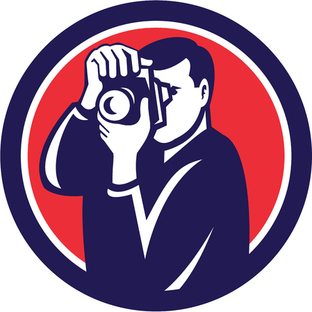 digital camera: Illustration of a photographer shooting with dslr digital camera set inside circle done in retro style. Illustration