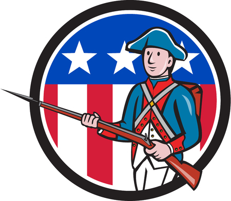 american revolution: Illustration of an American revolutionary soldier military with rifle marching Illustration