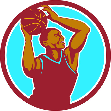 Illustration of a basketball player with ball rebounding lay up set inside circle viewed from the side done in retro style. Illustration