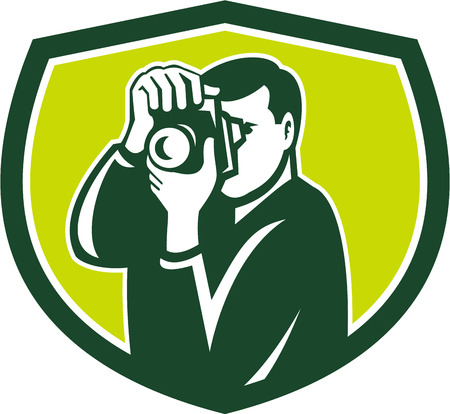 dslr: Illustration of a photographer shooting with dslr digital camera set inside shield crest done in retro style.