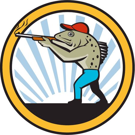 sea side: Illustration of a spotted sea trout hunter carrying gun rifle shooting viewed from the side set inside circle with sunburst in the background done in retro style,