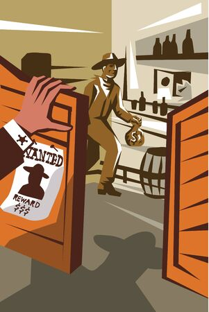 burglar man: Poster illustration of an outlaw cowboy robber holding bag of money stealing from saloon with hand of sheriff at door and wanted sign done in retro style.