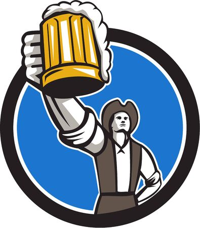 craft man: Illustration of an american patriot raising up craft beer mug toasting Illustration