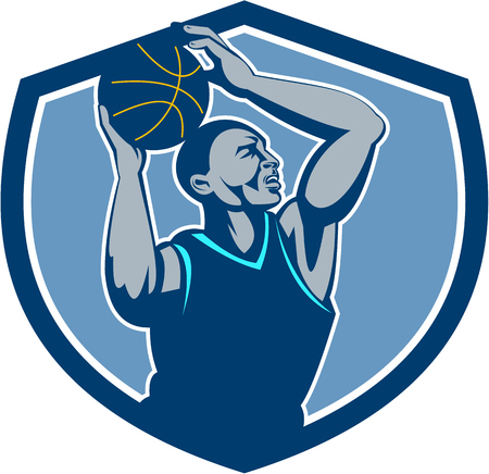 Illustration of a basketball player with ball rebounding lay up set inside shield crest viewed from the side done in retro style.