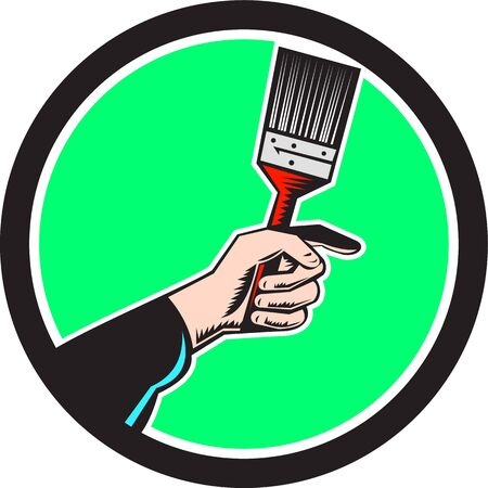 hand holding: Illustration of a painter hand holding paintbrush set inside circle on isolated background done in retro style.