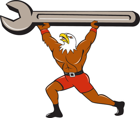bald eagle: Illustration of a american bald eagle mechanic lifting giant spanner looking up Illustration