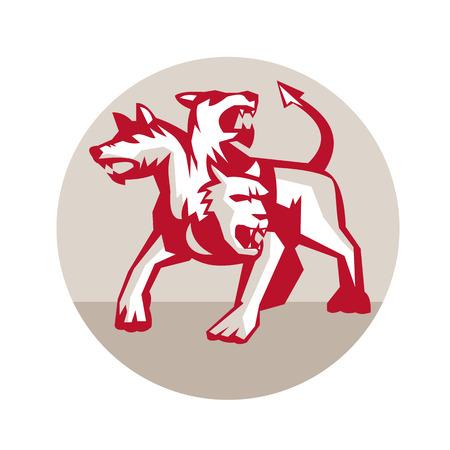 Illustratie van cerberus, in de Griekse en Romeinse mythologie, een multi-headed meestal driekoppige hond, of hellehond met de staart van een slang Stock Illustratie